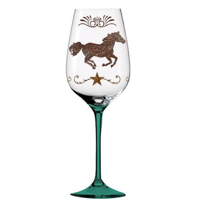 Cowboy Up! Handpainted Wine Glass