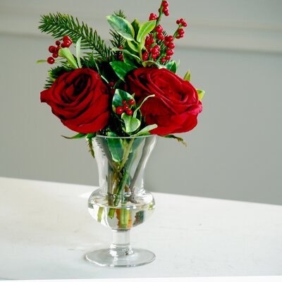 Holiday Rose and Ilex in Glass Vase