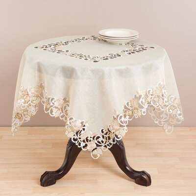 Saro Embroidered and Cutwork Table Cloth