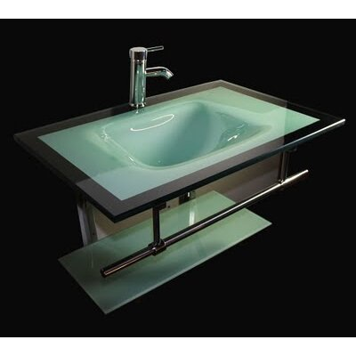 "Kokols 31"" Floating Wall Mount Tempered Glass Bathroom Vanity Set"