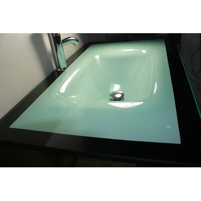 "Kokols 31"" Floating Wall Mount Tempered Glass Bathroom Vanity Set"