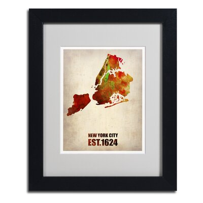 'New York City Watercolor Map 2' Matted Framed Art by Naxart