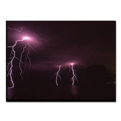 "Trademark Fine Art Lake Lightning by Kurt Shaffer, Canvas Art - 14"" x 19"""