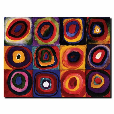 "Trademark Fine Art ""Karbstudie Quadrate"" by Wassily Kandinsky Painting Print on Canvas"