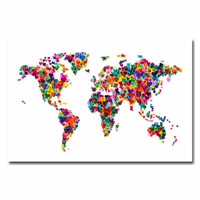 39 Vintage Hearts World Map 39 by Michael Tompsett Graphic Art on Canvas