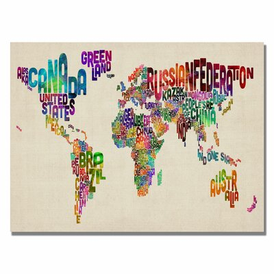 Typography World Map II Canvas Wall Art