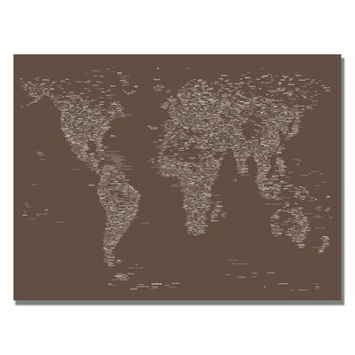 Font World Map VI by Michael Tompsett Graphic Art on Canvas in Brown