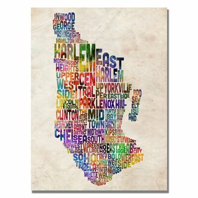Manhattan Typography Map Canvas Wall Art