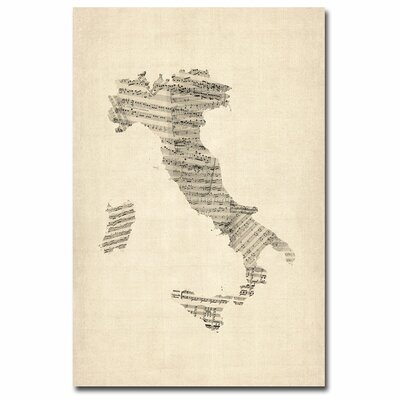 Trademark Fine Art Italy Old Sheet Music Map Canvas Wall Art