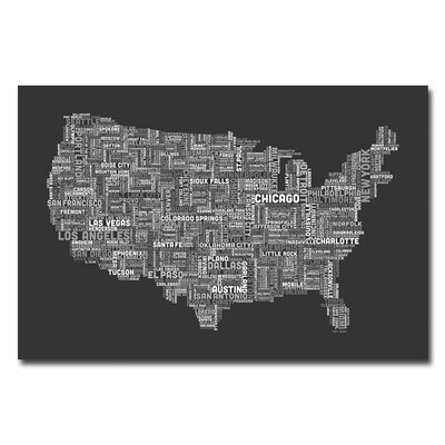 Trademark Art US City Map V Canvas Wall Art