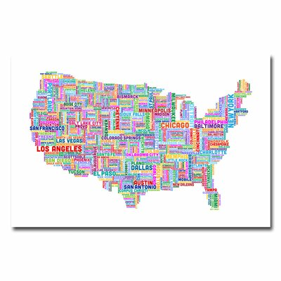 Trademark Fine Art US Cities Text Map IV Canvas Wall Art