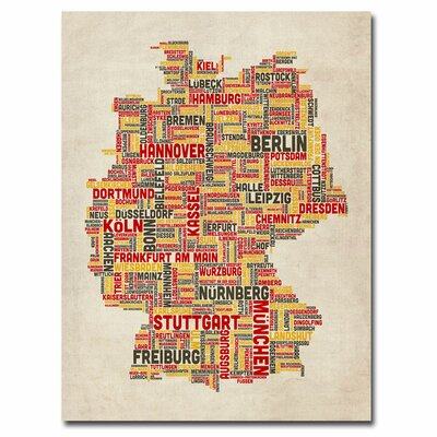 Trademark Fine Art Germany Text Map II Canvas Wall Art