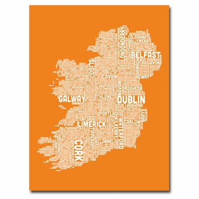 Ireland City Map X by Michael Tompsett Textual Art on Canvas in Orange