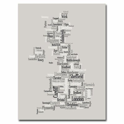 'UK City Text Map' by Michael Tompsett Graphic Art on Canvas