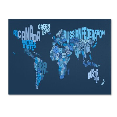 Trademark Fine Art 'World Text Map 2' Canvas Art