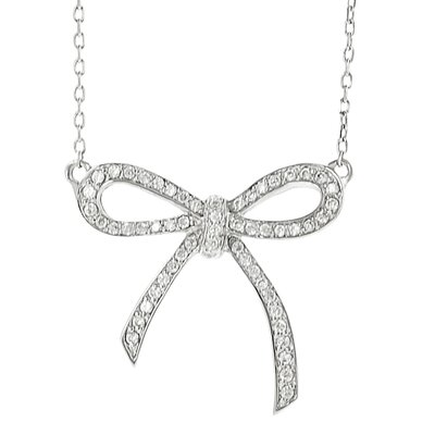 Journee Collection Brass Bow Cubic Zirconia Necklace