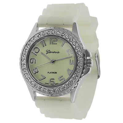 Women's Rhinestone Accented Glow in the Dark Watch