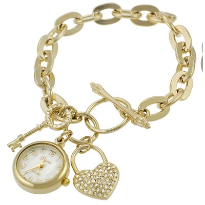 Women's Lock and Key Charm Toggle Watch
