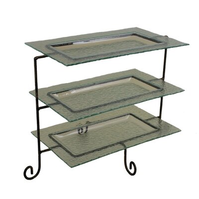 3 tier rectangular serving tray tiered stand wayfair. Black Bedroom Furniture Sets. Home Design Ideas