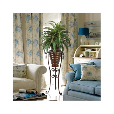 Laura Ashley Home 6' Silk Boston Fern Plant with Metal Planter and Stand