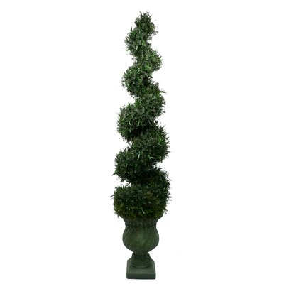 Tall High End Silk Spiral Topiary with Decorative Planter