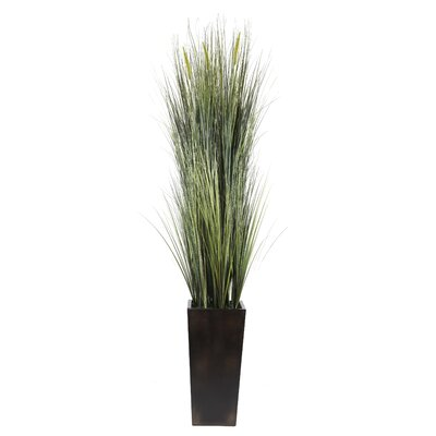 Tall High End Realistic Silk Onion Grass and Cattails Floor Plant with Contemporary Planter