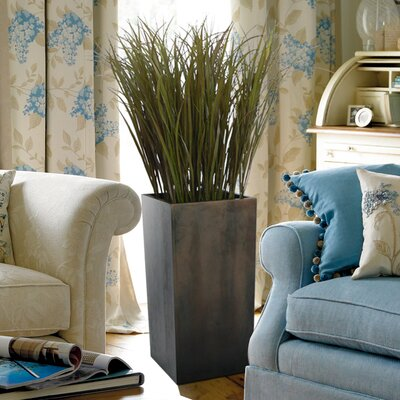 Tall High End Realistic Silk Grass Floor Plant with Contemporary Stand
