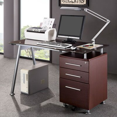 Techni Mobili Computer Desk with Side Cabinet in Chocolate