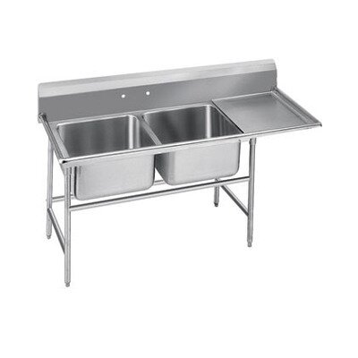 Advance Tabco 940 Series Seamless Bowl 2 Compartment Scullery Sink