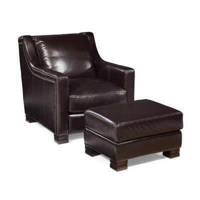 Carrington Leather Arm Chair and Ottoman