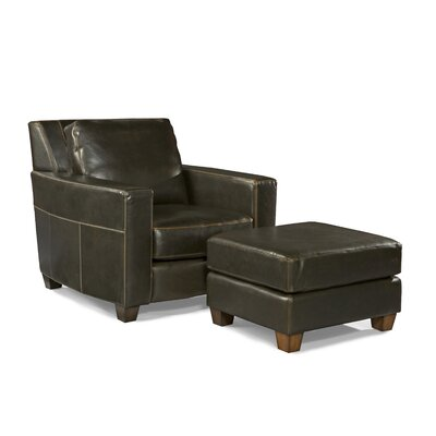 Palatial Furniture Marin Leather Arm Chair and Ottoman