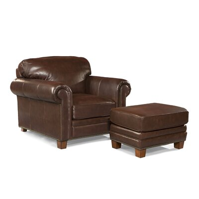 Hillsboro Leather Arm Chair And Ottoman Wayfair