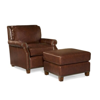 Kingston Leather Arm Chair and Ottoman