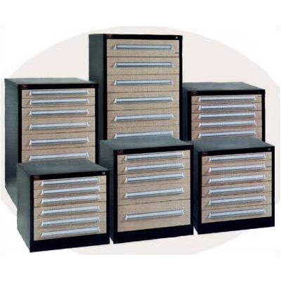 "Lyon Workspace Products Eye-Level High Standard Cabinet with 9 Drawers: 30"" W x 28 1/4"" D x 59 1/4"" H"