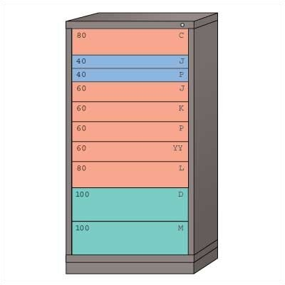 "Lyon Workspace Products Eye-Level High Standard Cabinet with 10 Drawers: 30"" W x 28 1/4"" D x 59 1/4"" H"