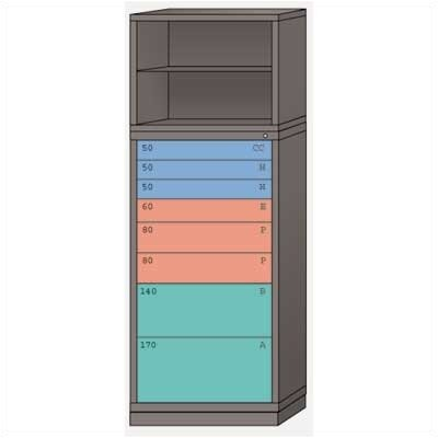 "Lyon Workspace Products Combination Eye-Level Cabinet with 8 Drawers: 30"" W x 28 1/4"" D x 86"" H"