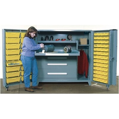 "Lyon Workspace Products 60"" Wide Cabinet w/ 45"" W Modular Drawers and 52 Small Bins"