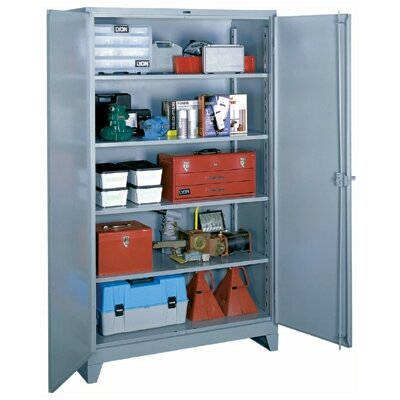 "Lyon Workspace Products All-Welded  Storage Cabinet with 4 Shelves: 82"" H x 48"" W x 24"" D"