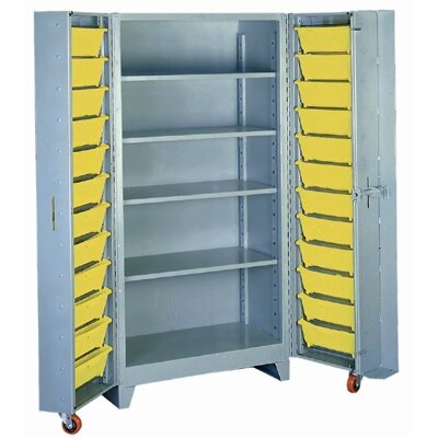 "Lyon Workspace Products Deep Door Storage Cabinet with 4 Shelves: 76"" H x 38"" W x 28"" D"