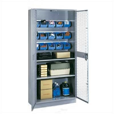 Lyon Workspace Products All-Welded Visible Storage Cabinet with 2 Shelves, 15 Bins, and 4&quot; Base: 72&quot; H x 36&quot; W x 18&quot; D