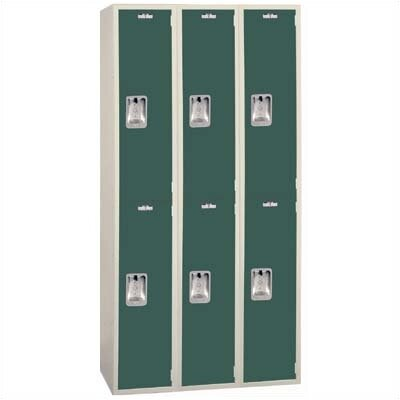 Lyon Workspace Products Two-Tone Quiet Door Locker - Double Tier  - 3 Sections - No Legs or Louvers (Unassembled)
