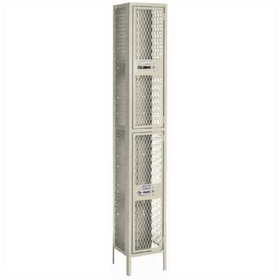 "Lyon Workspace Products Expanded Metal Locker - Double Tier - 1 Section - 15"" Wide (Unassembled)"