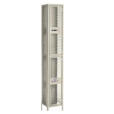 Lyon Workspace Products Expanded Metal Locker - Double Tier - 2 Sections - 15&quot; Wide (Unassembled)