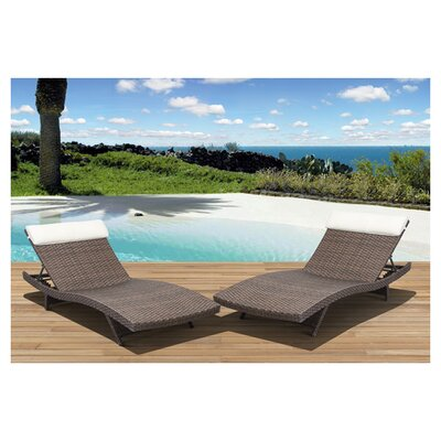 <strong>International Home Miami</strong> Atlantic Java Lounge Chair with Cushion (Set of 2)