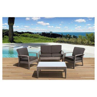 International Home Miami Atlantic Java 4 Piece Lounge Seating Group with Cushion