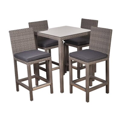 International Home Miami Atlantic Martinique 5 Piece Bar Set