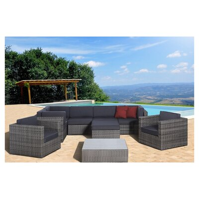 Southampton 9 Piece Sectional Deep Seating Group with Cushions
