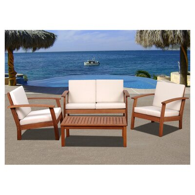 <strong>International Home Miami</strong> Amazonia Chicago 4 Piece Deep Seating Group with Cushions