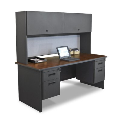 "Marvel Office Furniture Pronto 72"" Double File Computer Desk with Flipper Door Cabinet"