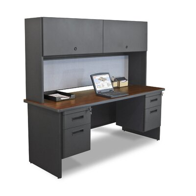 "Marvel Office Furniture Pronto 72"" Double File Computer Desk Credenza with Flipper Door Cabinet"